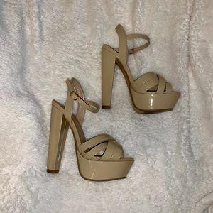 Shoes - Nude Platform Heels